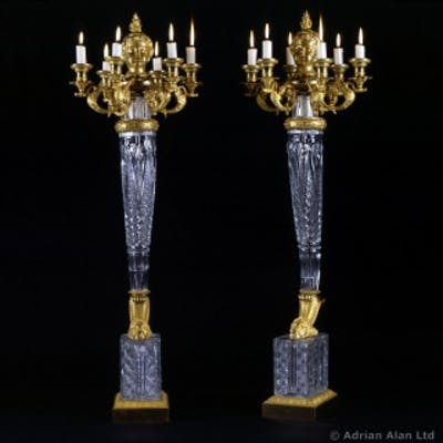 A Pair of Empire Six-Light Candelabra