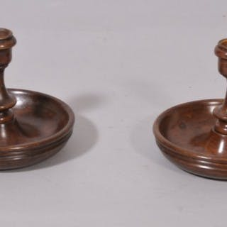 Antique Treen 19th Century Pair of Fruitwood Travelling Candlesticks