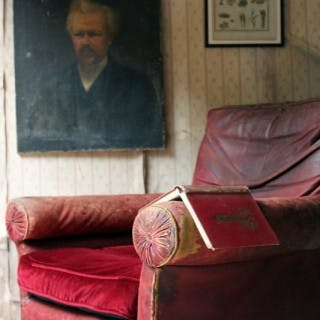 Large Mid-19thC English Oak & Red Morocco Leather Library Armchair