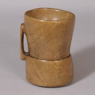 Antique Treen 19th Century Scandinavian Handled Salt or Mortar