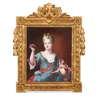 Limoges enamel portrait plaque of Marie-Anne of Bourbon