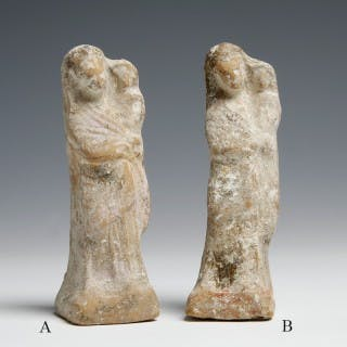Greek Terracotta Figurine of Mother and Child