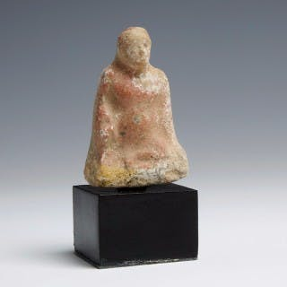 Greek Terracotta Figurine of a Boy Squatting