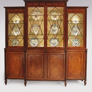 Early 19th Century Regency period mahogany Breakfront Bookcase in