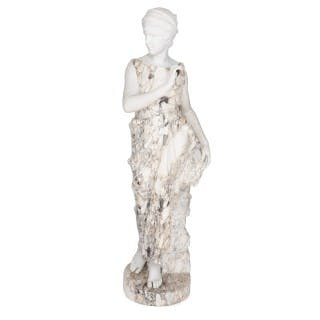 Marble sculpture of a female figure, emblematic of Autumn