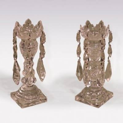 Pair of small 19th Century cut glass Lustre Candlesticks