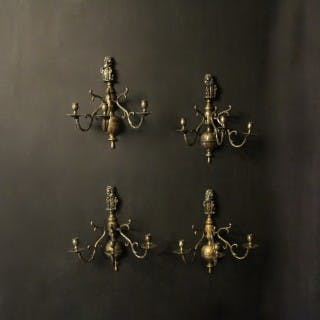 Dutch Set Of 4 Bronze Antique Sconces