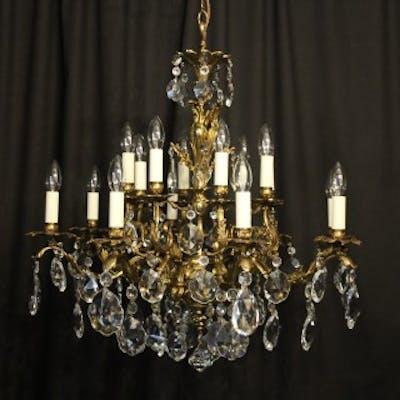 Italian Bronze & Crystal 16 Light Chandelier