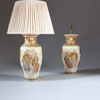 PAIR OF JAPANESE SATSUMA VASES AS TABLE LAMPS