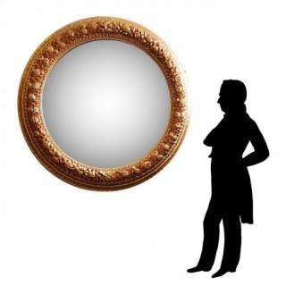 ITALIAN GILTWOOD CARVED TONDO FRAME CONVEX MIRROR 60 INCHES