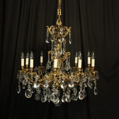 French Gilded Bronze Antique Chandelier