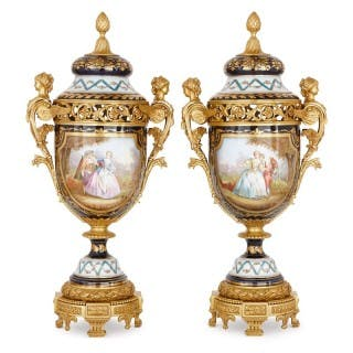 Large pair of gilt bronze mounted Sevres style porcelain vases