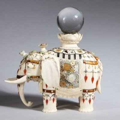 MEIJI JAPANESE SHIBAYAMA JEWELLED IVORY ELEPHANT OKIMONO BY MASAYUKI