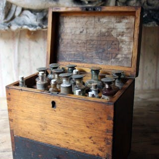 A Mid 19thC British Oak Apothecary Chest; c.1858-1875; formerly P.J.