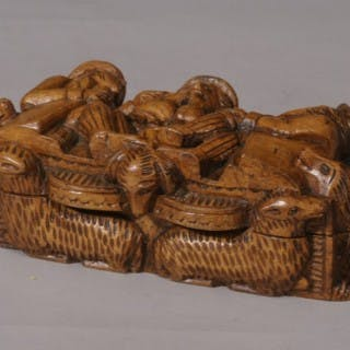 Antique Treen 19th Century Carved Table Snuff Box