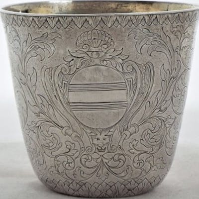 Lovely engraved Charles II silver oval tapering beaker C1683 by IH