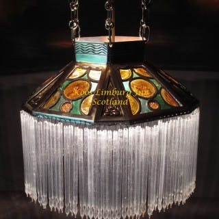 Leaded Glass and Brass Arts Craft Hanging Light