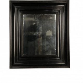Ebonised fruitwood picture frame mirror, Dutch 18th Century