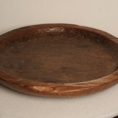 Large hardwood shallow bowl, Mingei, Japanese, early 20th century