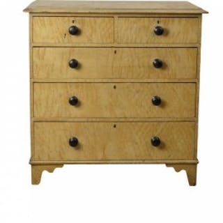 Painted faux maple Victorian chest of drawers, English circa 1880