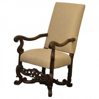 Walnut upholstered armchair, Flemish circa 1660