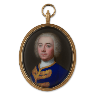 A Portrait enamel of a Nobleman, wearing bright blue collarless jacket