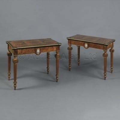 A Pair of Marquetry Inlaid Card Tables With Sèvres-Style Porcelain Plaques