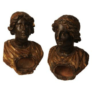 Two polychromed and gilded reliquary busts after the antique, Italian