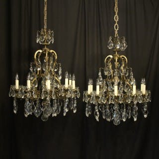 French Pair Gilded 10 Light Antique Chandeliers