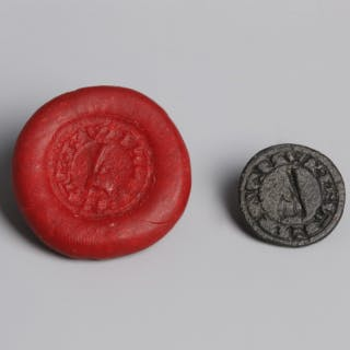 Medieval Bronze Seal Matrix with Axe Intaglio
