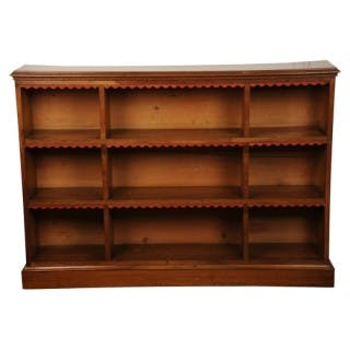 Walnut open bookcase, English, late Victorian