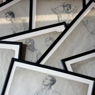 A Group of Twelve Framed Early 20thC Nude Pencil Studies by Violet