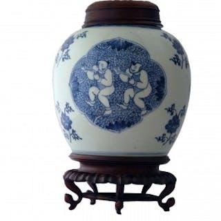 Kangxi Blue and White Lidded Jar