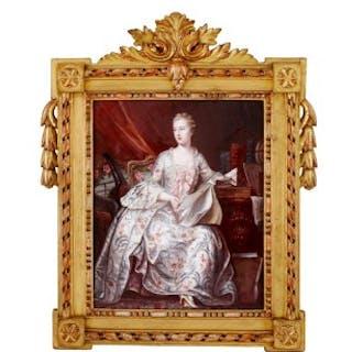 Limoges enamel portrait of Madame de Pompadour, after Delatour
