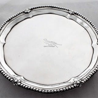 Quality crested George III silver waiter London 1773 Robert Jones I