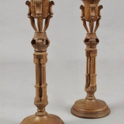 Stylish Art Deco Walnut Pair of Candle sticks