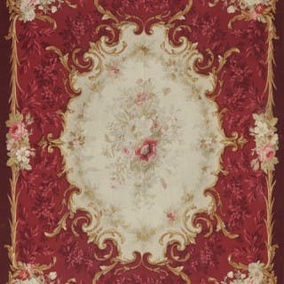 Antique French Aubusson handwoven wool & silk rug