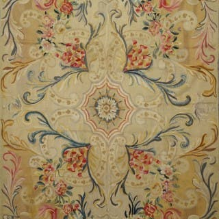 Antique French Aubusson handwoven wool rug