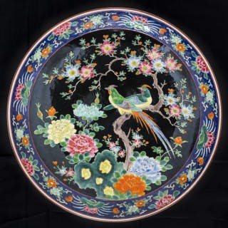 Large Japanese Meiji Period Yamatoku Famille Noir Porcelain Dish