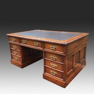Antique Oak Gothic Revival Panelled Pedestal Desk
