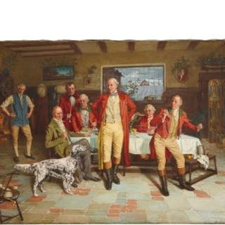 Group portrait painting after the hunt, oil on canvas, by Mohlte