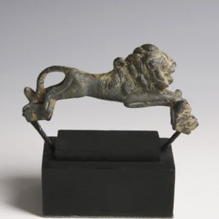 Roman Bronze Handle in the Shape of a Lion