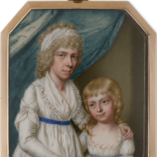 A portrait of a Mother and her daughter, similarly attired in white