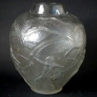 Rene Lalique Clear & Frosted Glass 'Archers' Vase