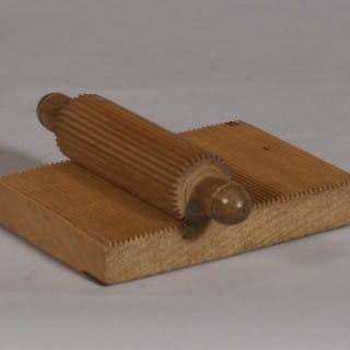 Antique Treen 19th Century Beech Crimping Board and Roller