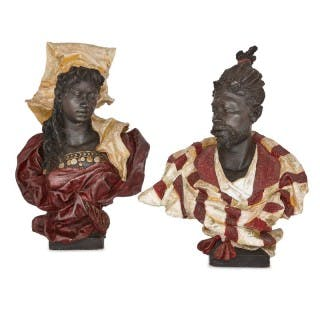 Pair of terracotta sculptures of Nubian figures, attributed to Goldscheider