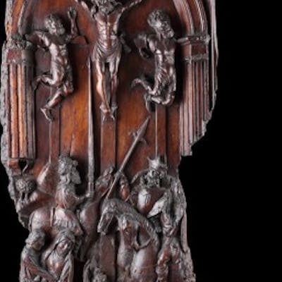 Renaissance South Netherlands Carved Walnut Crucifixion Scene