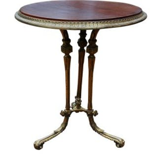 Antique Brass and Walnut Conservatory Table