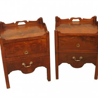 Antique Georgian Mahogany Matched Pair Of Bedside Night Tables