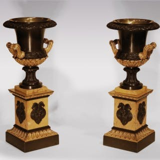Pair Of 19th Century Bronze & Ormolu Large Campana Urns